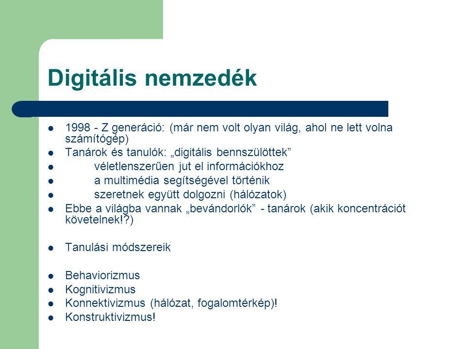 """Digitális nemzedék  1998 - Z generáció: (már nem volt olyan világ, ahol ne lett volna számítógép)  Tanárok és tanulók: """"digitális bennszülöttek""""  v"""