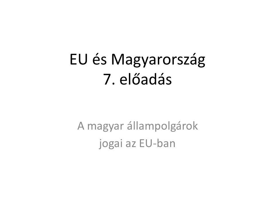 EU és Magyarország 7. előadás A magyar állampolgárok jogai az EU-ban