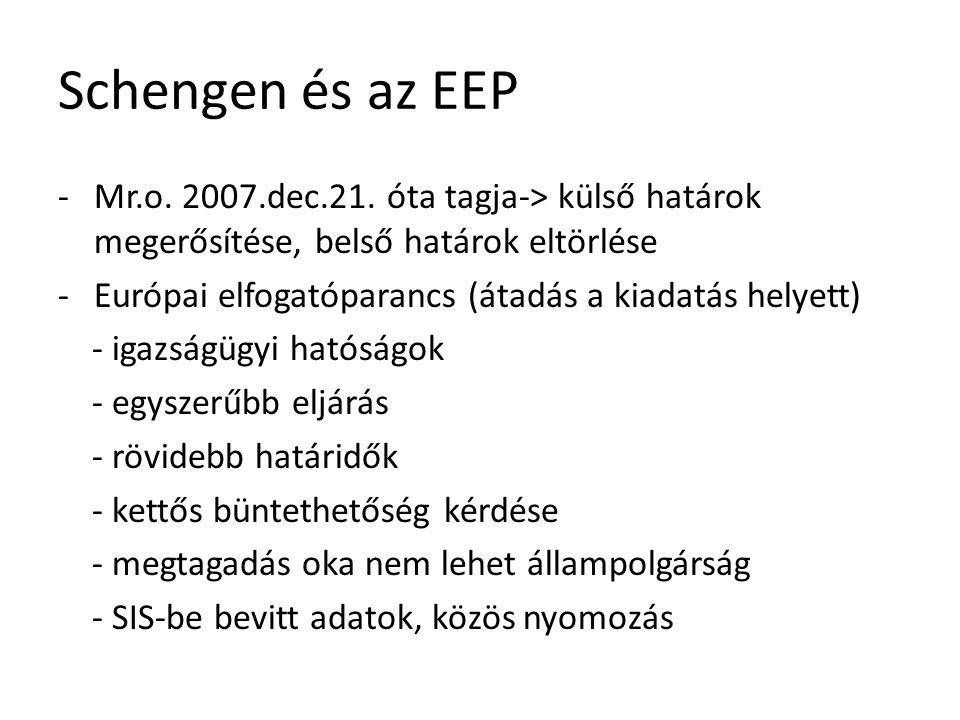 Schengen és az EEP -Mr.o. 2007.dec.21. óta tagja-> külső határok megerősítése, belső határok eltörlése -Európai elfogatóparancs (átadás a kiadatás hel