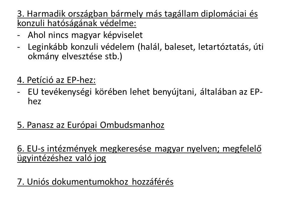 3. Harmadik országban bármely más tagállam diplomáciai és konzuli hatóságának védelme: -Ahol nincs magyar képviselet -Leginkább konzuli védelem (halál