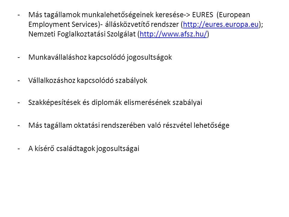 -Más tagállamok munkalehetőségeinek keresése-> EURES (European Employment Services)- állásközvetítő rendszer (http://eures.europa.eu); Nemzeti Foglalkoztatási Szolgálat (http://www.afsz.hu/)http://eures.europa.euhttp://www.afsz.hu/ -Munkavállaláshoz kapcsolódó jogosultságok -Vállalkozáshoz kapcsolódó szabályok -Szakképesítések és diplomák elismerésének szabályai -Más tagállam oktatási rendszerében való részvétel lehetősége -A kísérő családtagok jogosultságai