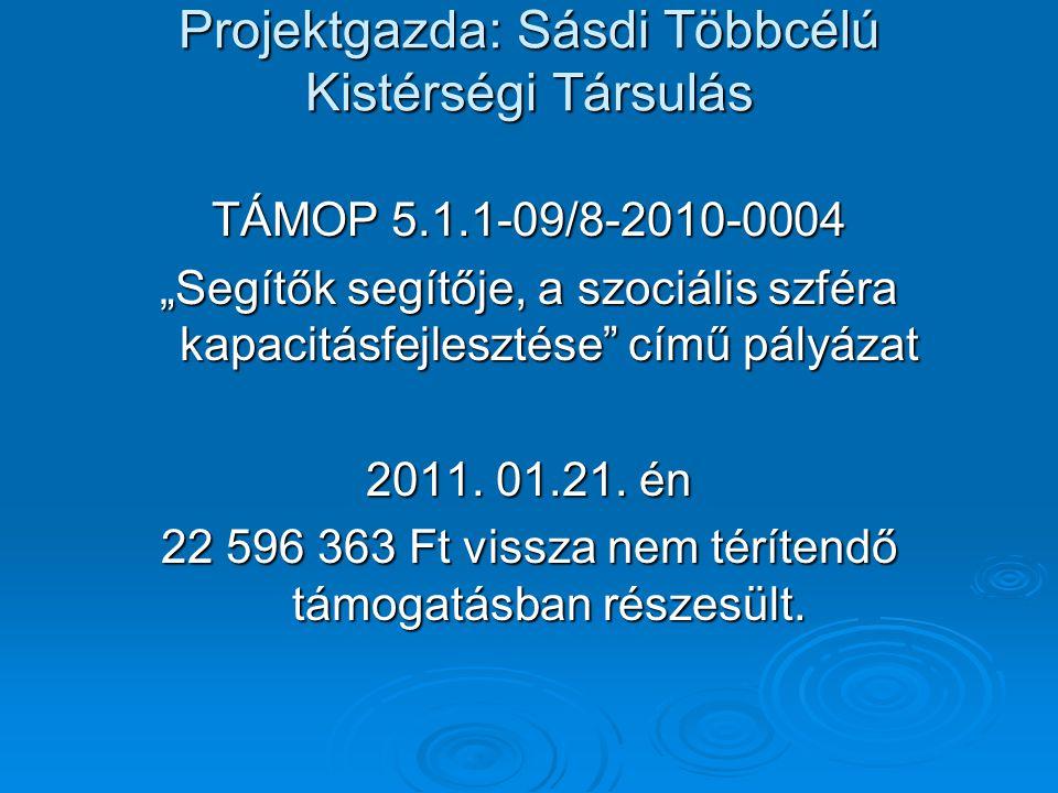 """Projektgazda: Sásdi Többcélú Kistérségi Társulás TÁMOP 5.1.1-09/8-2010-0004 """"Segítők segítője, a szociális szféra kapacitásfejlesztése"""" című pályázat"""