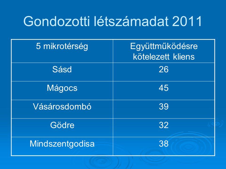 Gondozotti létszámadat 2011 5 mikrotérségEgyüttműködésre kötelezett kliens Sásd26 Mágocs45 Vásárosdombó39 Gödre32 Mindszentgodisa38