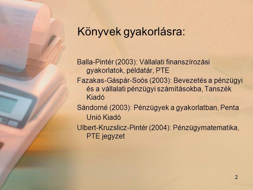2 Könyvek gyakorlásra: Balla-Pintér (2003): Vállalati finanszírozási gyakorlatok, példatár, PTE Fazakas-Gáspár-Soós (2003): Bevezetés a pénzügyi és a