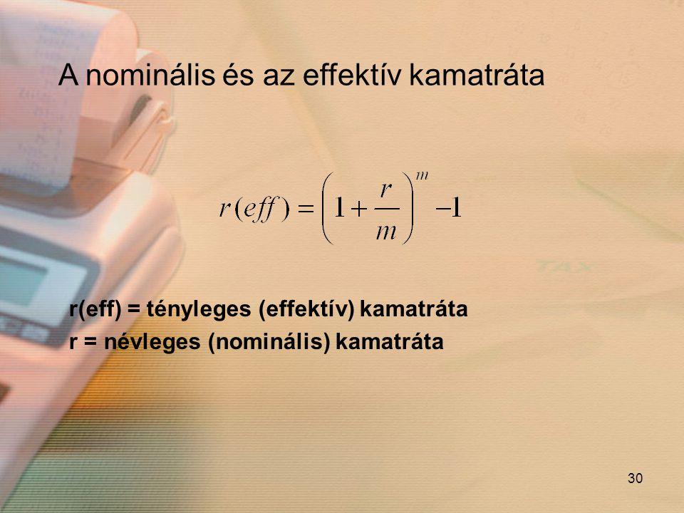 30 A nominális és az effektív kamatráta r(eff) = tényleges (effektív) kamatráta r = névleges (nominális) kamatráta