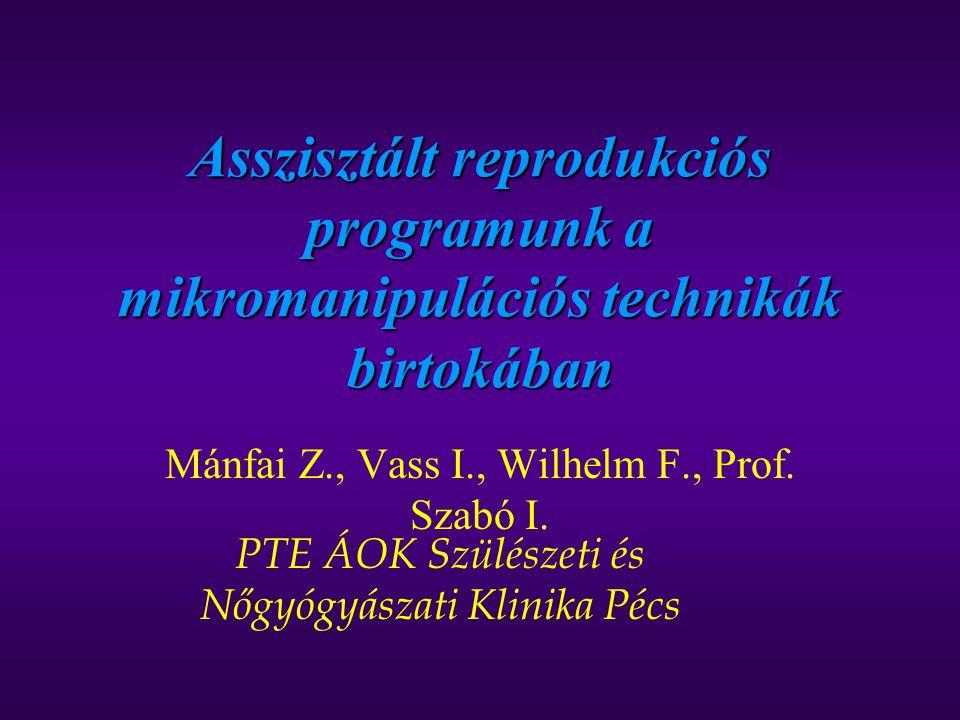 Asszisztált reprodukciós programunk a mikromanipulációs technikák birtokában Mánfai Z., Vass I., Wilhelm F., Prof. Szabó I. PTE ÁOK Szülészeti és Nőgy