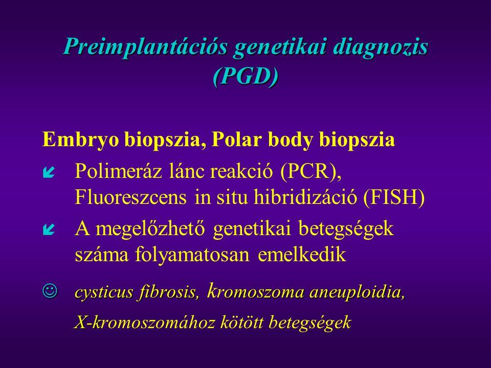 Preimplantációs genetikai diagnozis (PGD) Embryo biopszia, Polar body biopszia í Polimeráz lánc reakció (PCR), Fluoreszcens in situ hibridizáció (FISH