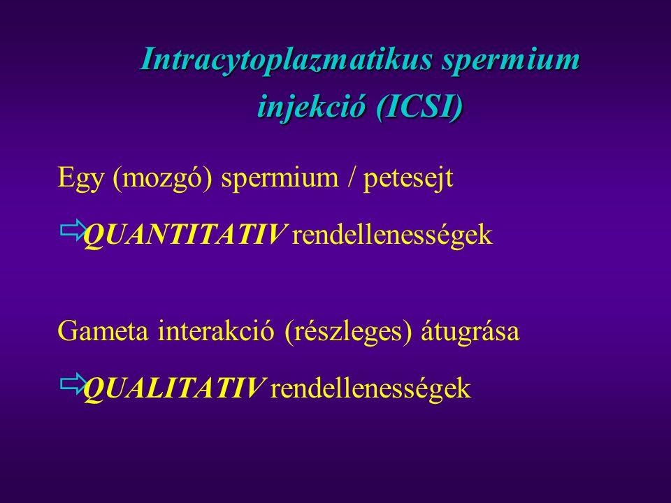 Intracytoplazmatikus spermium injekció (ICSI) Egy (mozgó) spermium / petesejt  QUANTITATIV rendellenességek Gameta interakció (részleges) átugrása 