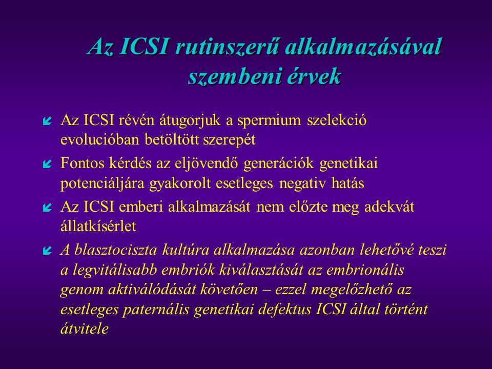 Az ICSI rutinszerű alkalmazásával szembeni érvek í Az ICSI révén átugorjuk a spermium szelekció evolucióban betöltött szerepét í Fontos kérdés az eljö