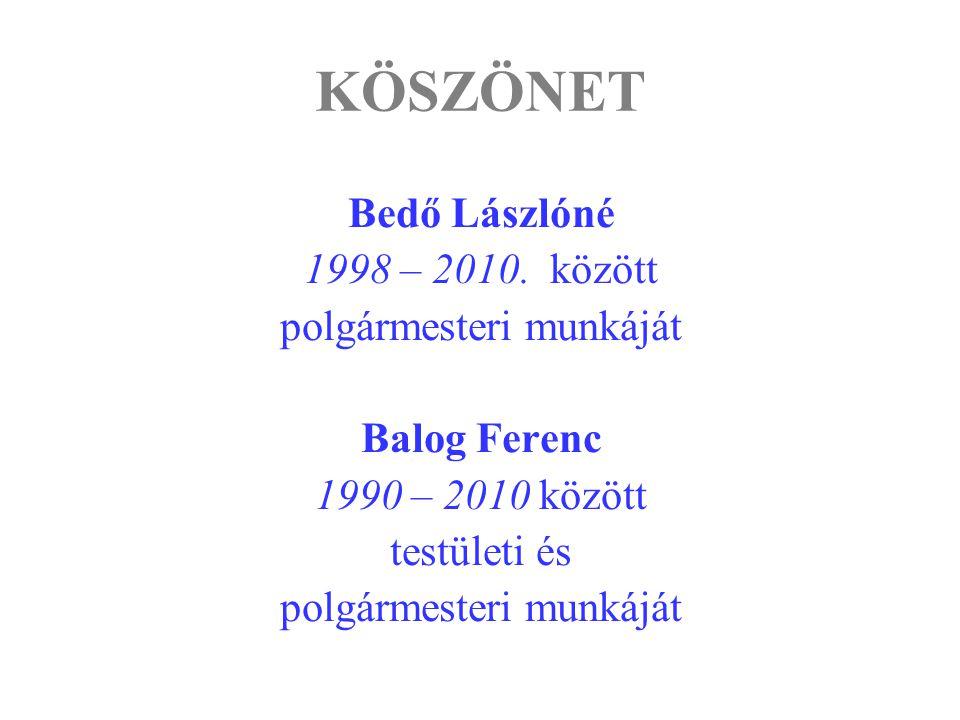 KÖSZÖNET Bedő Lászlóné 1998 – 2010. között polgármesteri munkáját Balog Ferenc 1990 – 2010 között testületi és polgármesteri munkáját
