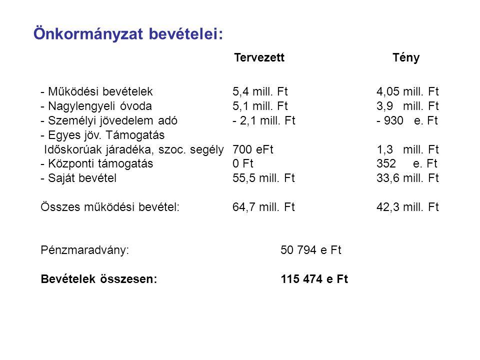 Önkormányzat bevételei: - Működési bevételek5,4 mill. Ft4,05 mill. Ft - Nagylengyeli óvoda5,1 mill. Ft3,9 mill. Ft - Személyi jövedelem adó- 2,1 mill.