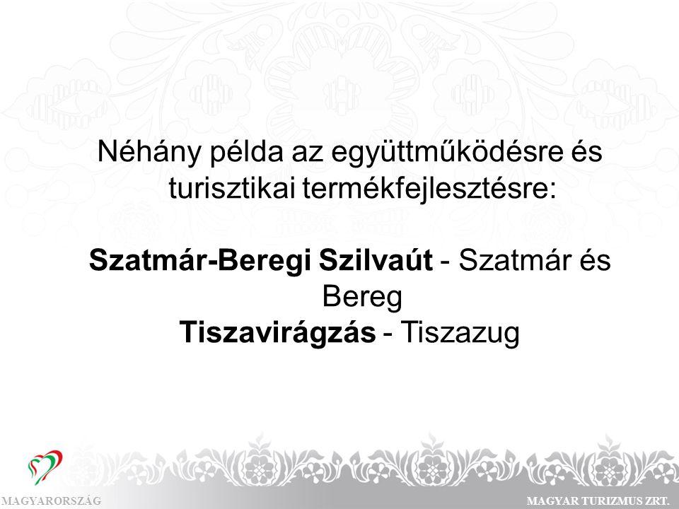 MAGYARORSZÁGMAGYAR TURIZMUS ZRT. Néhány példa az együttműködésre és turisztikai termékfejlesztésre: Szatmár-Beregi Szilvaút - Szatmár és Bereg Tiszavi