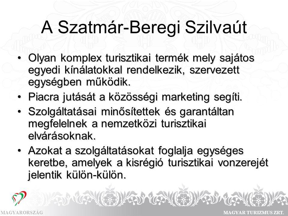 MAGYARORSZÁGMAGYAR TURIZMUS ZRT. A Szatmár-Beregi Szilvaút •Olyan komplex turisztikai termék mely sajátos egyedi kínálatokkal rendelkezik, szervezett
