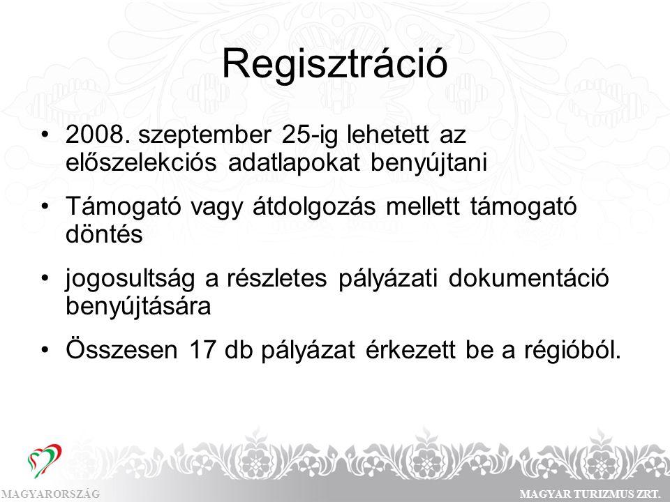 MAGYARORSZÁGMAGYAR TURIZMUS ZRT. Regisztráció •2008. szeptember 25-ig lehetett az előszelekciós adatlapokat benyújtani •Támogató vagy átdolgozás melle