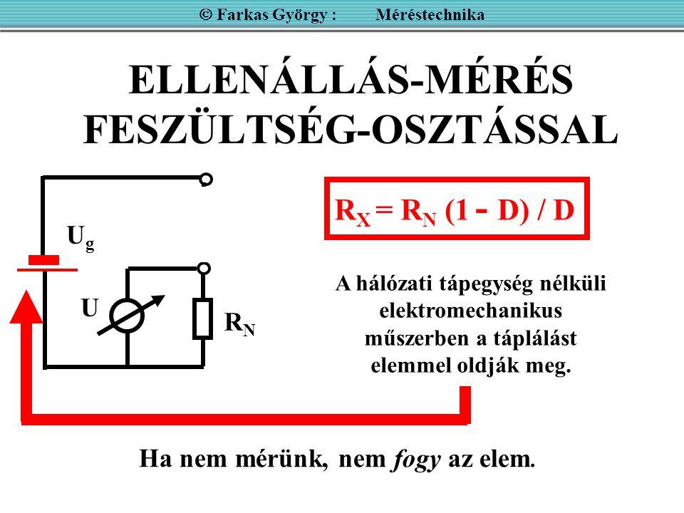 ELLENÁLLÁS-MÉRÉS FESZÜLTSÉG-OSZTÁSSAL  Farkas György : Méréstechnika A hálózati tápegység nélküli elektromechanikus műszerben a táplálást elemmel old