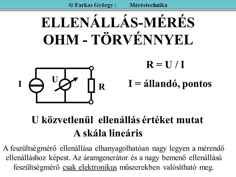 ELLENÁLLÁS-MÉRÉS OHM - TÖRVÉNNYEL  Farkas György : Méréstechnika I U R R = U / I I = állandó, pontos U közvetlenül ellenállás értéket mutat A feszült