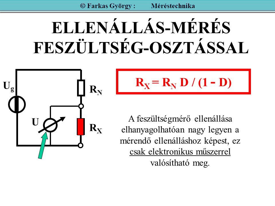 ELLENÁLLÁS-MÉRÉS FESZÜLTSÉG-OSZTÁSSAL  Farkas György : Méréstechnika UgUg RXRX RNRN U R X = R N D / (1 - D) A feszültségmérő ellenállása elhanyagolha