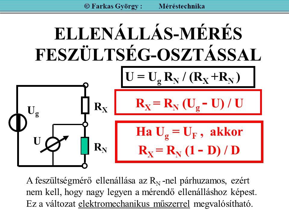 ELLENÁLLÁS-MÉRÉS FESZÜLTSÉG-OSZTÁSSAL  Farkas György : Méréstechnika U fordított skálával mutatja az ellenállás értékét R X = R N (1 - D) / D R X = R N R X = 0 R X =  RXRX D 0 1 ½ RNRN A hiperbolikus skála nagy méréstartományt ad, de nagyon pontatlan!