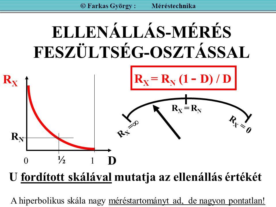 ELLENÁLLÁS-MÉRÉS FESZÜLTSÉG-OSZTÁSSAL  Farkas György : Méréstechnika U fordított skálával mutatja az ellenállás értékét R X = R N (1 - D) / D R X = R