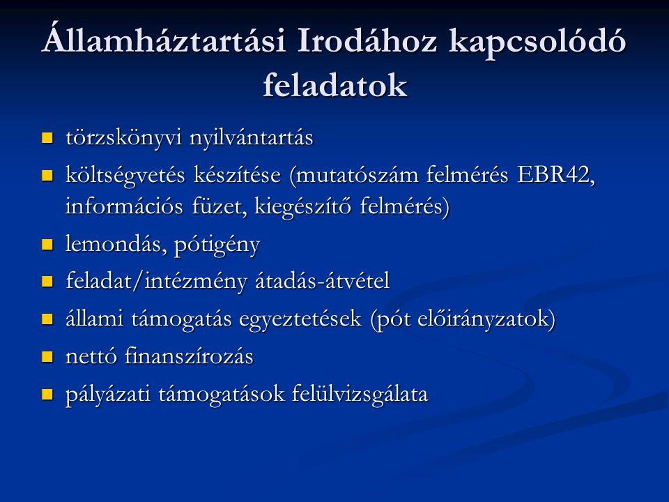 Államháztartási Irodához kapcsolódó feladatok  törzskönyvi nyilvántartás  költségvetés készítése (mutatószám felmérés EBR42, információs füzet, kiegészítő felmérés)  lemondás, pótigény  feladat/intézmény átadás-átvétel  állami támogatás egyeztetések (pót előirányzatok)  nettó finanszírozás  pályázati támogatások felülvizsgálata