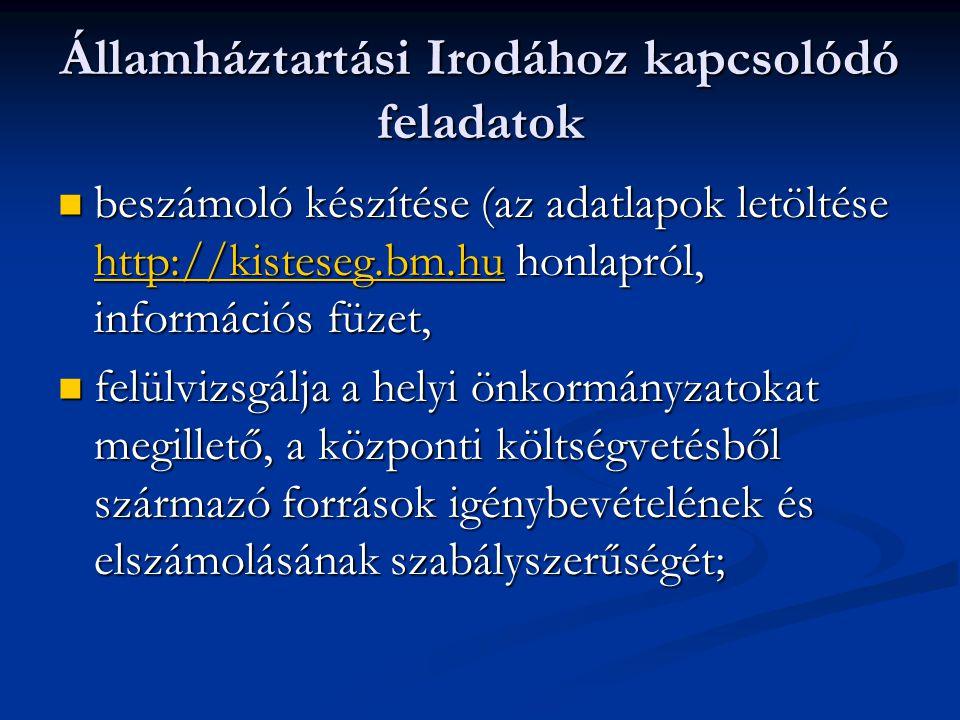 Államháztartási Irodához kapcsolódó feladatok  beszámoló készítése (az adatlapok letöltése http://kisteseg.bm.hu honlapról, információs füzet, http://kisteseg.bm.hu  felülvizsgálja a helyi önkormányzatokat megillető, a központi költségvetésből származó források igénybevételének és elszámolásának szabályszerűségét;