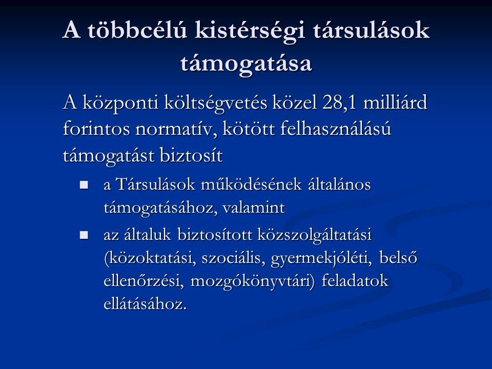 A többcélú kistérségi társulások támogatása A központi költségvetés közel 28,1 milliárd forintos normatív, kötött felhasználású támogatást biztosít  a Társulások működésének általános támogatásához, valamint  az általuk biztosított közszolgáltatási (közoktatási, szociális, gyermekjóléti, belső ellenőrzési, mozgókönyvtári) feladatok ellátásához.