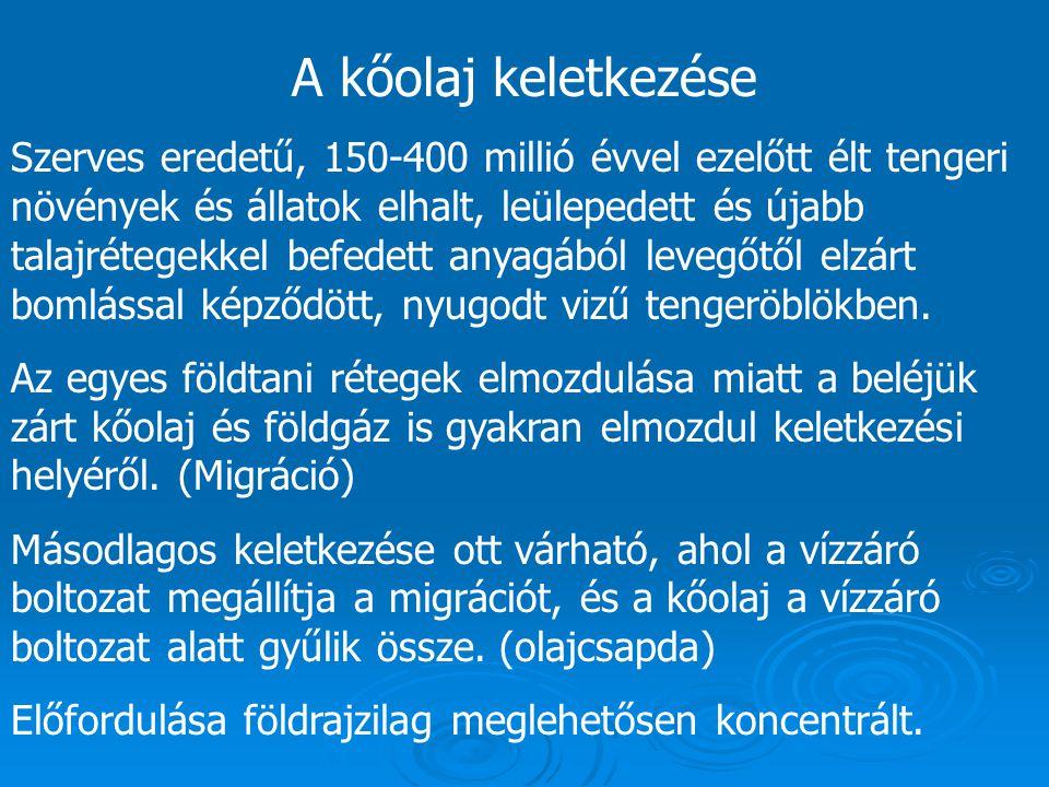 A kőolaj keletkezése Szerves eredetű, 150-400 millió évvel ezelőtt élt tengeri növények és állatok elhalt, leülepedett és újabb talajrétegekkel befede