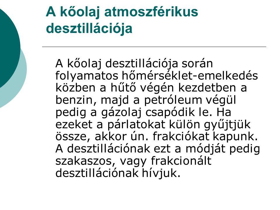 A kőolaj atmoszférikus desztillációja A kőolaj desztillációja során folyamatos hőmérséklet-emelkedés közben a hűtő végén kezdetben a benzin, majd a pe