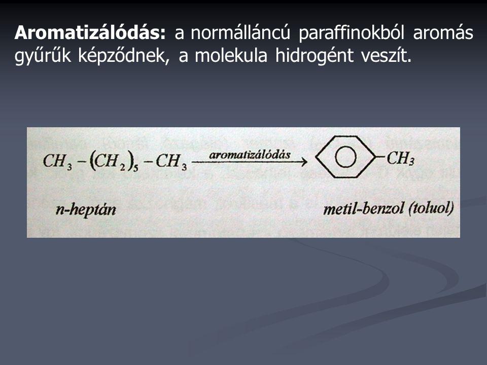 Aromatizálódás: a normálláncú paraffinokból aromás gyűrűk képződnek, a molekula hidrogént veszít.