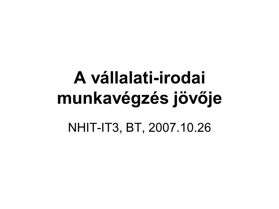 A vállalati-irodai munkavégzés jövője NHIT-IT3, BT, 2007.10.26