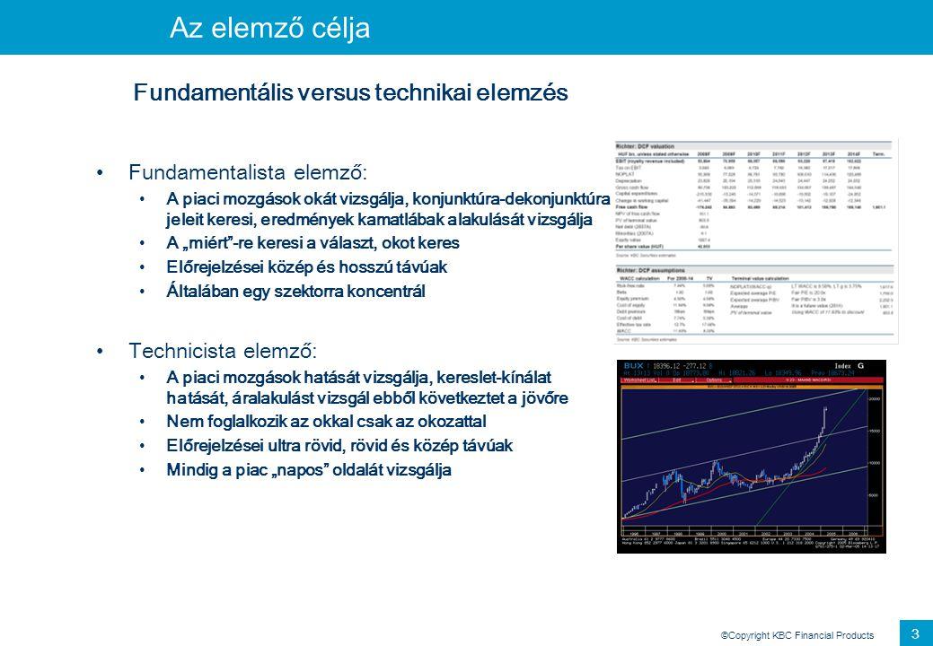 ©Copyright KBC Financial Products 2 Elemzés Fundamentális versus technikai elemzés •Fundamentalista elemző: •A piaci mozgások okát vizsgálja, konjunkt