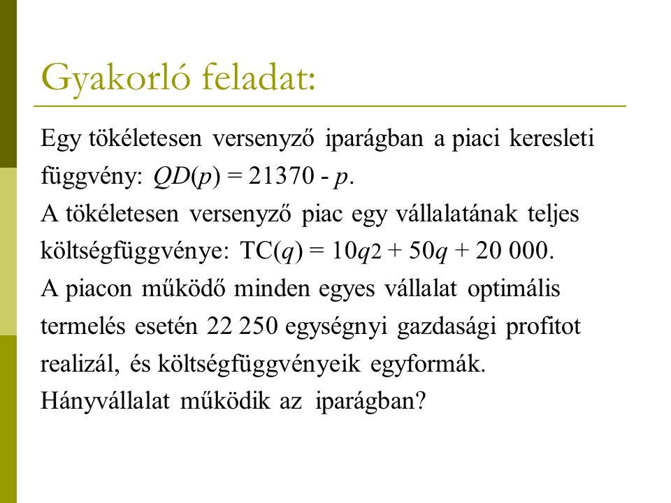 Gyakorló feladat: Egy tökéletesen versenyző iparágban a piaci keresleti függvény: QD(p) = 21370 - p. A tökéletesen versenyző piac egy vállalatának tel