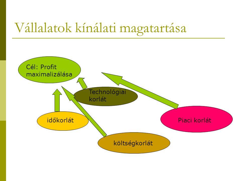 Vállalatok kínálati magatartása Cél: Profit maximalizálása időkorlát Technológiai korlát költségkorlát Piaci korlát