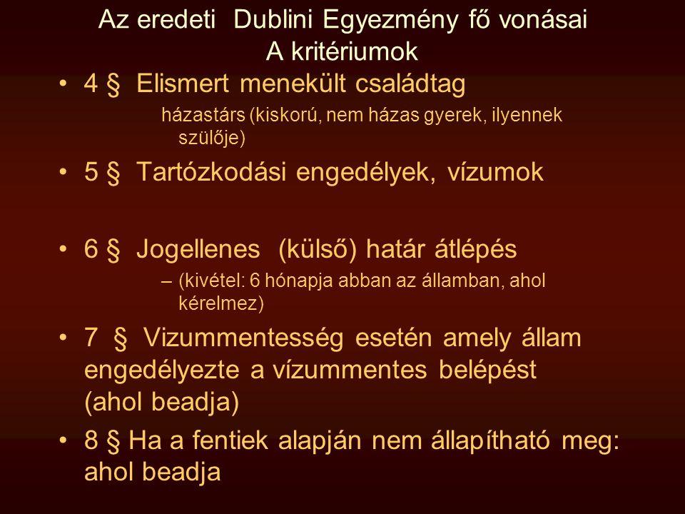 Az eredeti Dublini Egyezmény fő vonásai A kritériumok •4 § Elismert menekült családtag házastárs (kiskorú, nem házas gyerek, ilyennek szülője) •5 § Ta