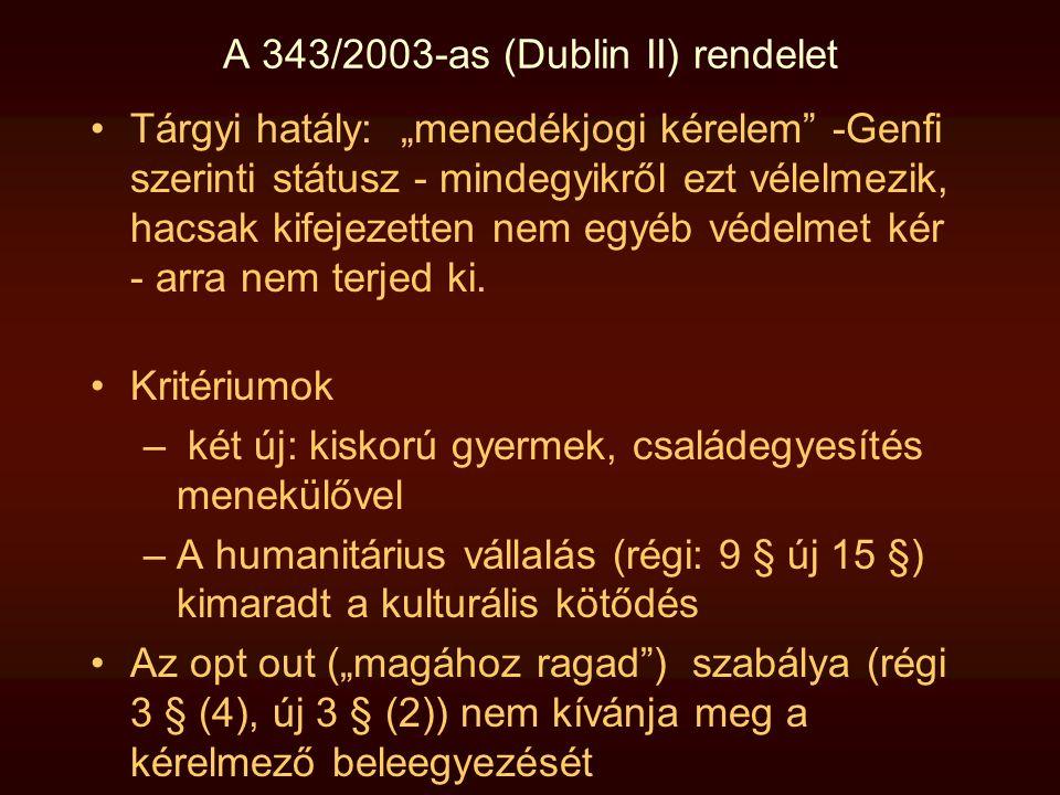 """A 343/2003-as (Dublin II) rendelet •Tárgyi hatály: """"menedékjogi kérelem"""" -Genfi szerinti státusz - mindegyikről ezt vélelmezik, hacsak kifejezetten ne"""