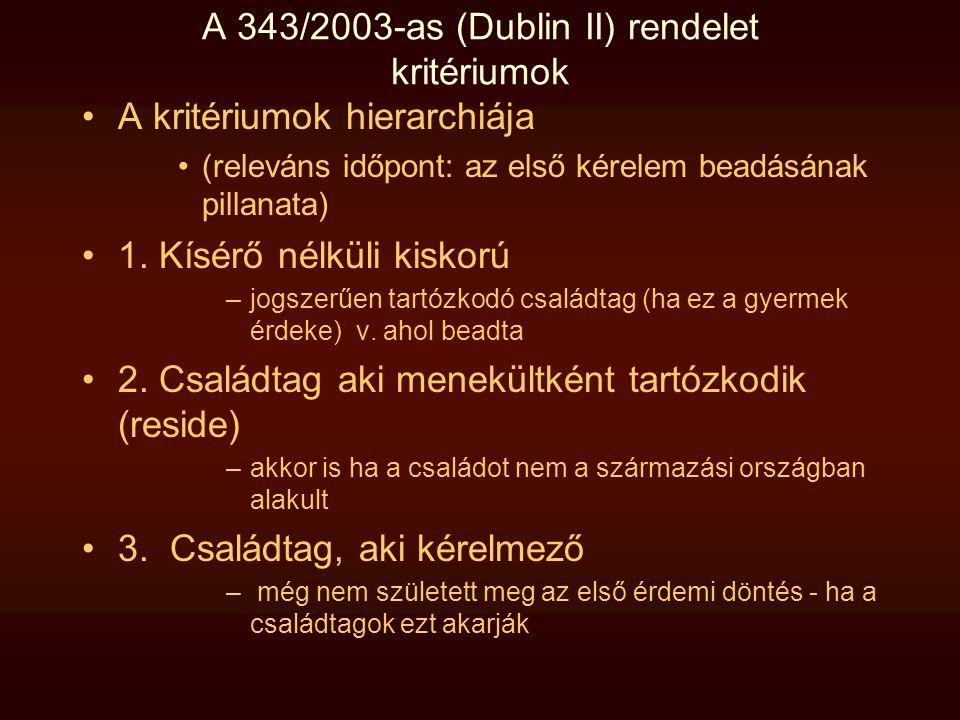 A 343/2003-as (Dublin II) rendelet kritériumok •A kritériumok hierarchiája •(releváns időpont: az első kérelem beadásának pillanata) •1. Kísérő nélkül