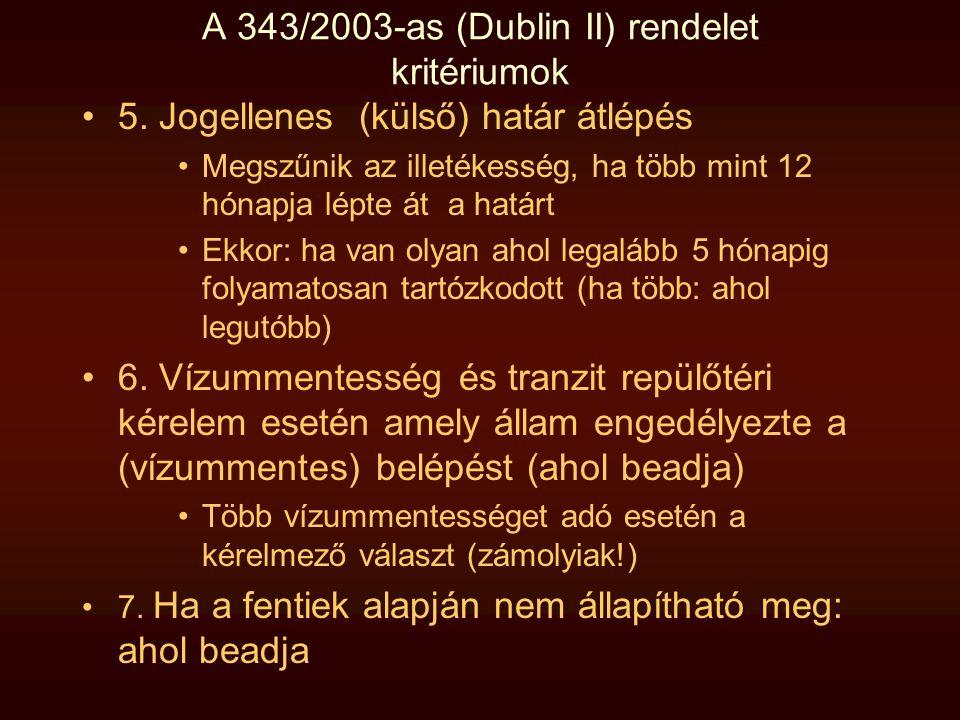 A 343/2003-as (Dublin II) rendelet kritériumok •5. Jogellenes (külső) határ átlépés •Megszűnik az illetékesség, ha több mint 12 hónapja lépte át a hat