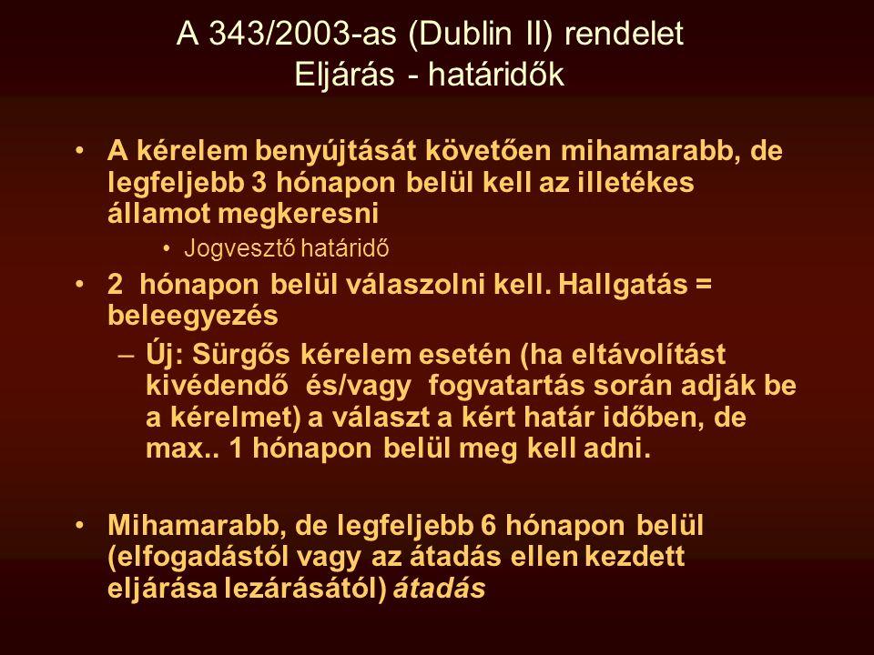 A 343/2003-as (Dublin II) rendelet Eljárás - határidők •A kérelem benyújtását követően mihamarabb, de legfeljebb 3 hónapon belül kell az illetékes áll