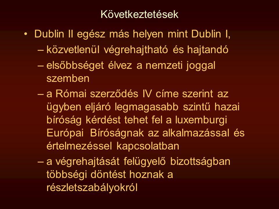 Következtetések •Dublin II egész más helyen mint Dublin I, –közvetlenül végrehajtható és hajtandó –elsőbbséget élvez a nemzeti joggal szemben –a Római