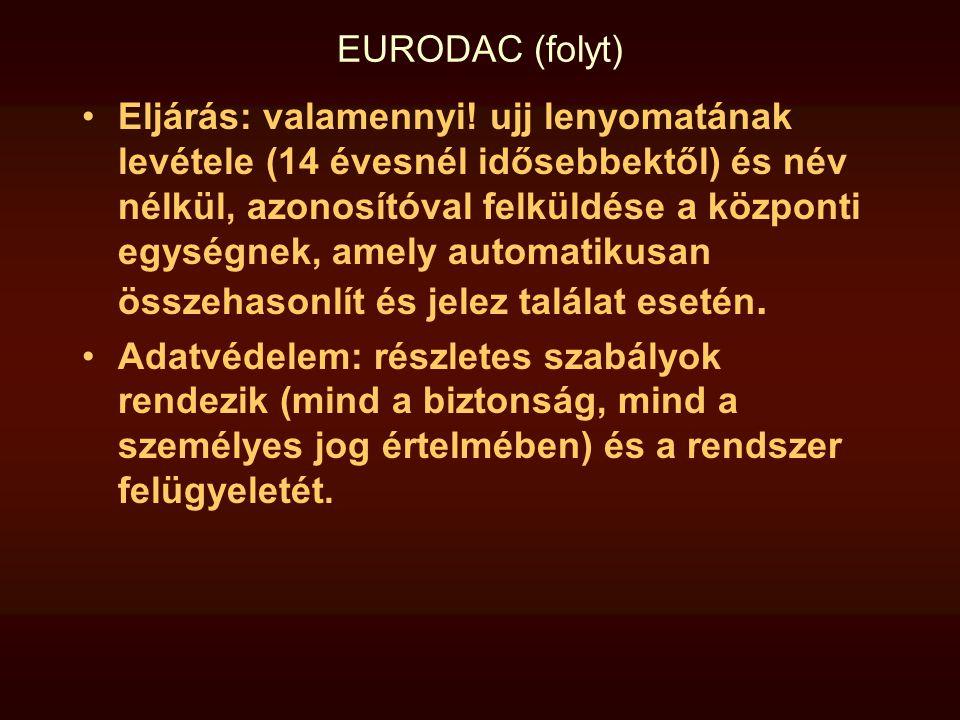 EURODAC (folyt) •Eljárás: valamennyi! ujj lenyomatának levétele (14 évesnél idősebbektől) és név nélkül, azonosítóval felküldése a központi egységnek,
