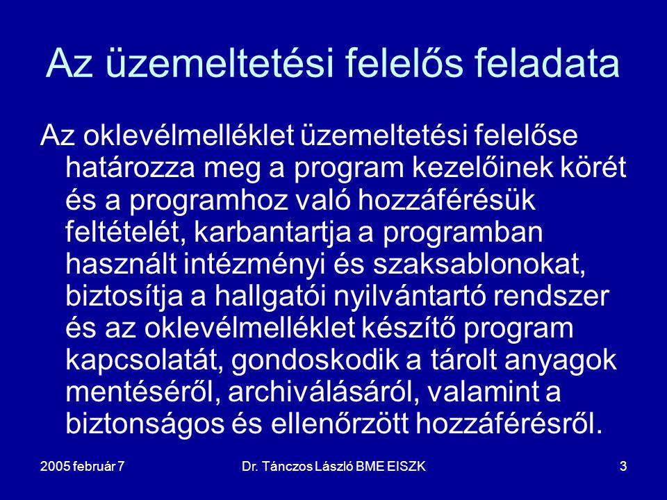 2005 február 7Dr. Tánczos László BME EISZK3 Az üzemeltetési felelős feladata Az oklevélmelléklet üzemeltetési felelőse határozza meg a program kezelői