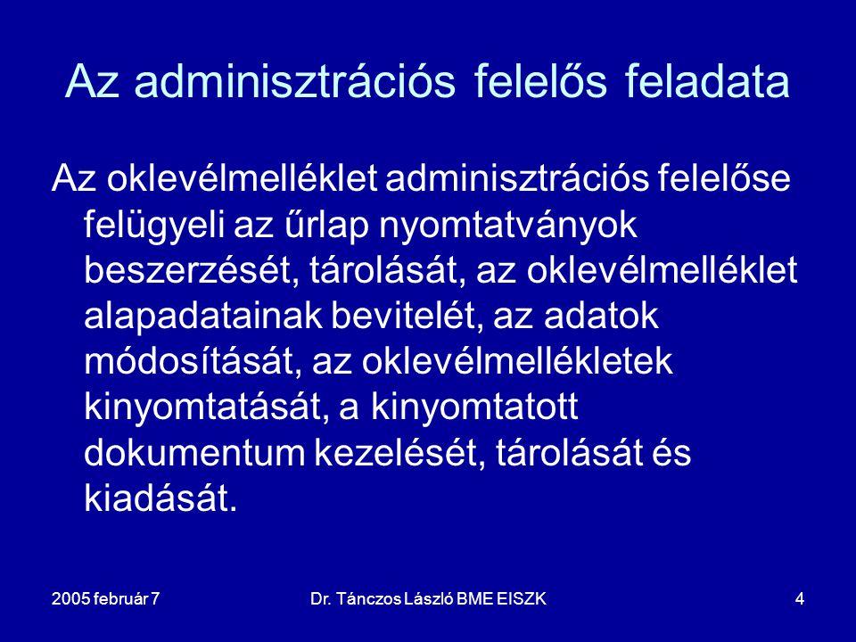 2005 február 7Dr. Tánczos László BME EISZK4 Az adminisztrációs felelős feladata Az oklevélmelléklet adminisztrációs felelőse felügyeli az űrlap nyomta