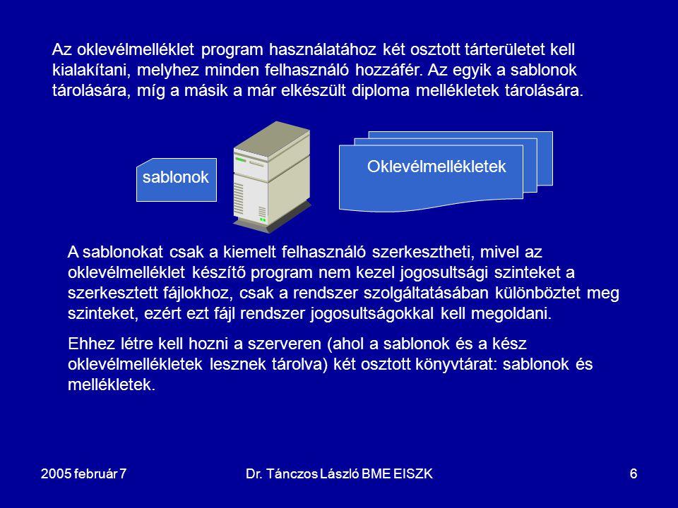 2005 február 7Dr. Tánczos László BME EISZK6 Az oklevélmelléklet program használatához két osztott tárterületet kell kialakítani, melyhez minden felhas