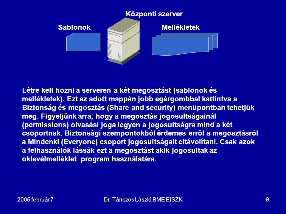 2005 február 7Dr. Tánczos László BME EISZK9 Központi szerver SablonokMellékletek Létre kell hozni a serveren a két megosztást (sablonok és mellékletek