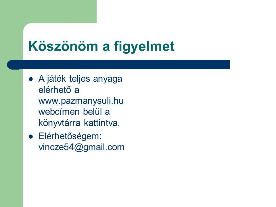 Köszönöm a figyelmet  A játék teljes anyaga elérhető a www.pazmanysuli.hu webcímen belül a könyvtárra kattintva. www.pazmanysuli.hu  Elérhetőségem:
