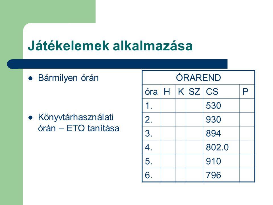 Játékelemek alkalmazása  Bármilyen órán  Könyvtárhasználati órán – ETO tanítása ÓRAREND óraHKSZCSP 1.530 2.930 3.894 4.802.0 5.910 6.796