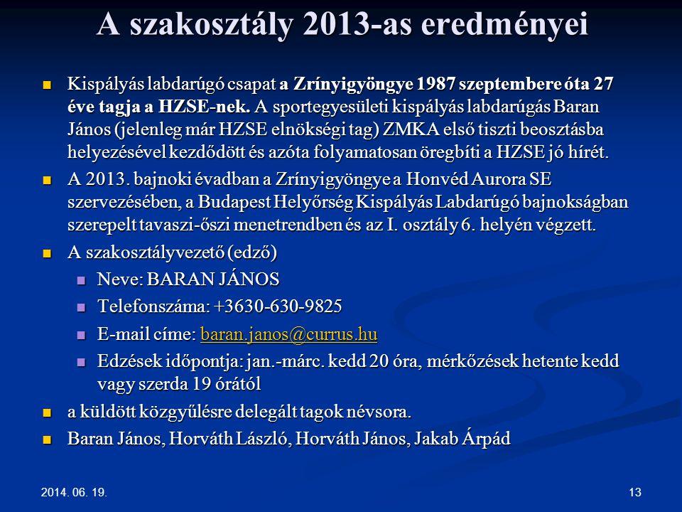 2014. 06. 19. 13 A szakosztály 2013-as eredményei  Kispályás labdarúgó csapat a Zrínyigyöngye 1987 szeptembere óta 27 éve tagja a HZSE-nek. A sporteg