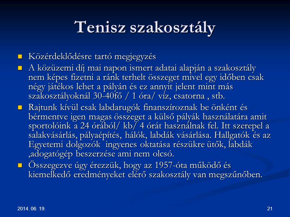 2014. 06. 19. 21 Tenisz szakosztály  Közérdeklődésre tartó megjegyzés  A közüzemi díj mai napon ismert adatai alapján a szakosztály nem képes fizetn