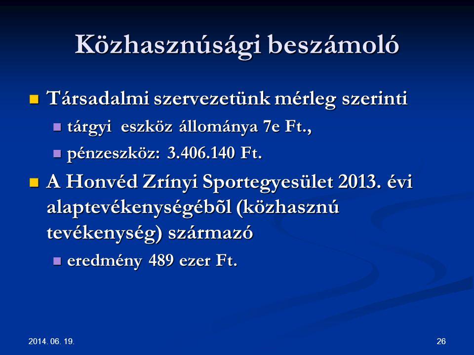 2014. 06. 19. 26 Közhasznúsági beszámoló  Társadalmi szervezetünk mérleg szerinti  tárgyi eszköz állománya 7e Ft.,  pénzeszköz: 3.406.140 Ft.  A H
