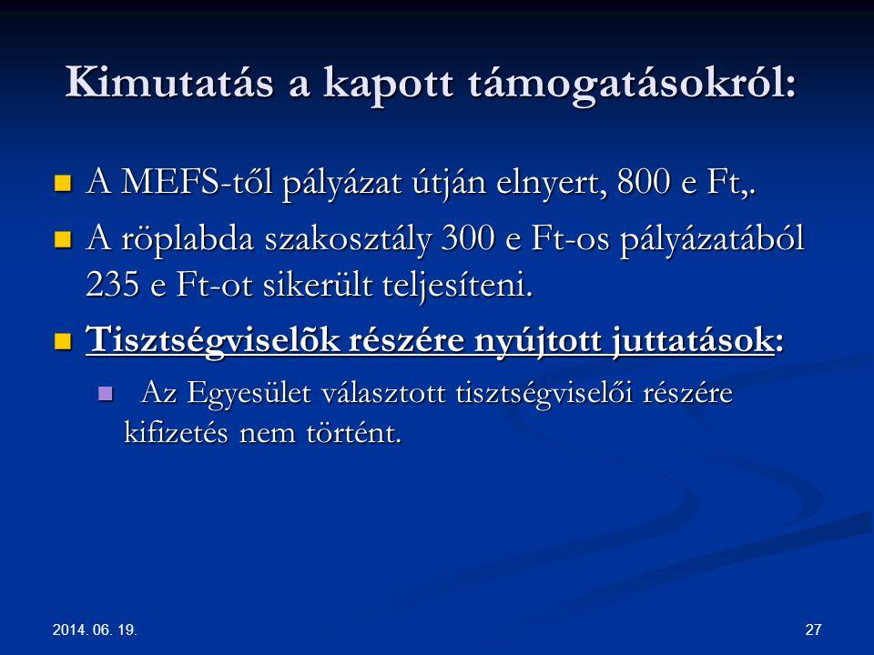 2014. 06. 19. 27 Kimutatás a kapott támogatásokról: Kimutatás a kapott támogatásokról:  A MEFS-től pályázat útján elnyert, 800 e Ft,.  A röplabda sz